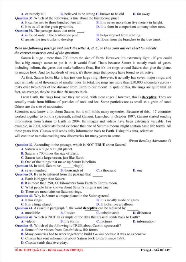 đề từ câu 35 - 43 môn anh thpt đoàn thượng 2018