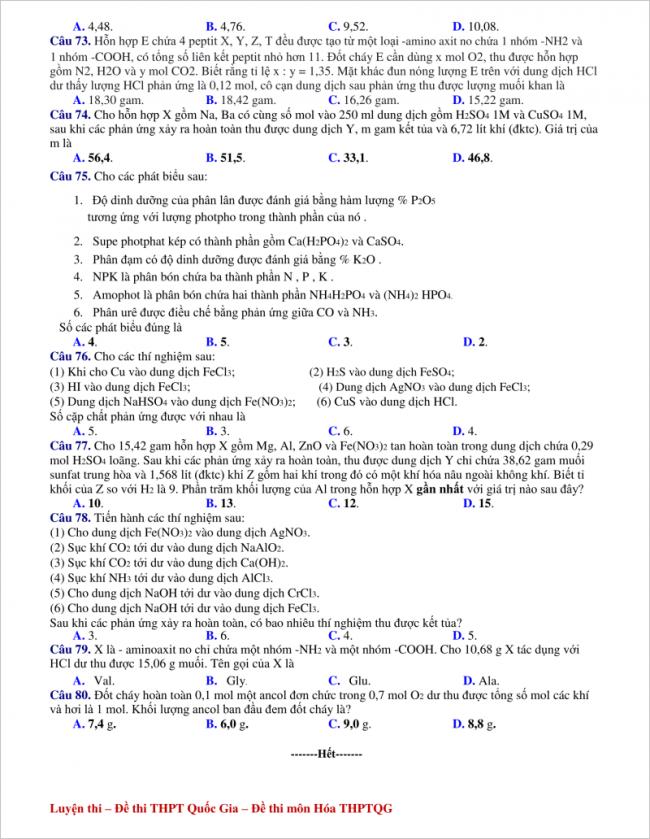 câu 73 - 80 trang 4 đề hóa thi thử thpt sào nam