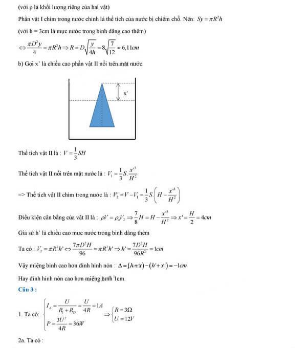 Đáp án câu 2, câu 3 môn Vật lý tuyển sinh vào lớp 10 PTNK TPHCM 2018