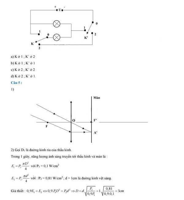 Đáp án câu 4, câu 5 môn Vật lý tuyển sinh vào lớp 10 PTNK TPHCM 2018