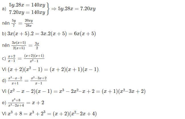 đáp án bài 1 trang 36 toán lớp 8