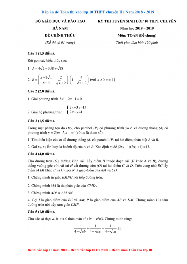 đề toán thi vào lớp 10 THPT chuyên Hà Nam 2018