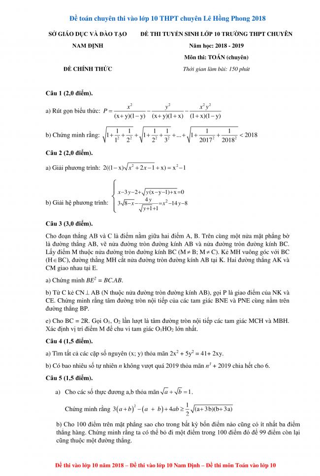 đề toán chuyên thi vào lớp 10 THPT chuyên Lê Hồng Phong 2018