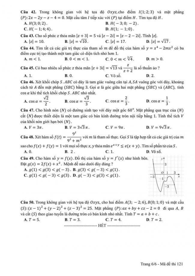 Đáp án đề thi môn Toán 121 THPT Quốc Gia năm 2017 trang 6