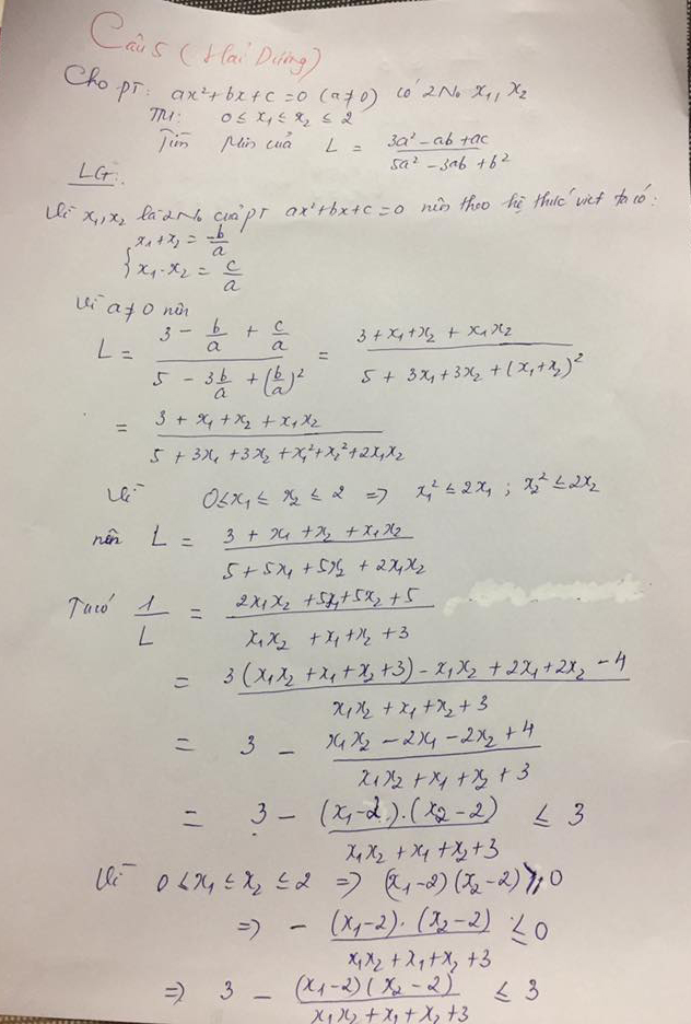 Đáp án câu 5 đề thi vào lớp 10 môn Toán tỉnh Hải Dương năm 2018