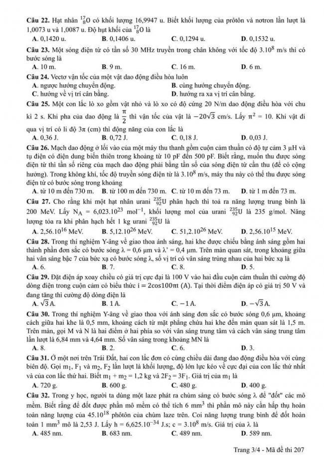 Đáp án đề thi môn Vật lí 207 THPT Quốc Gia năm 2017 trang 3