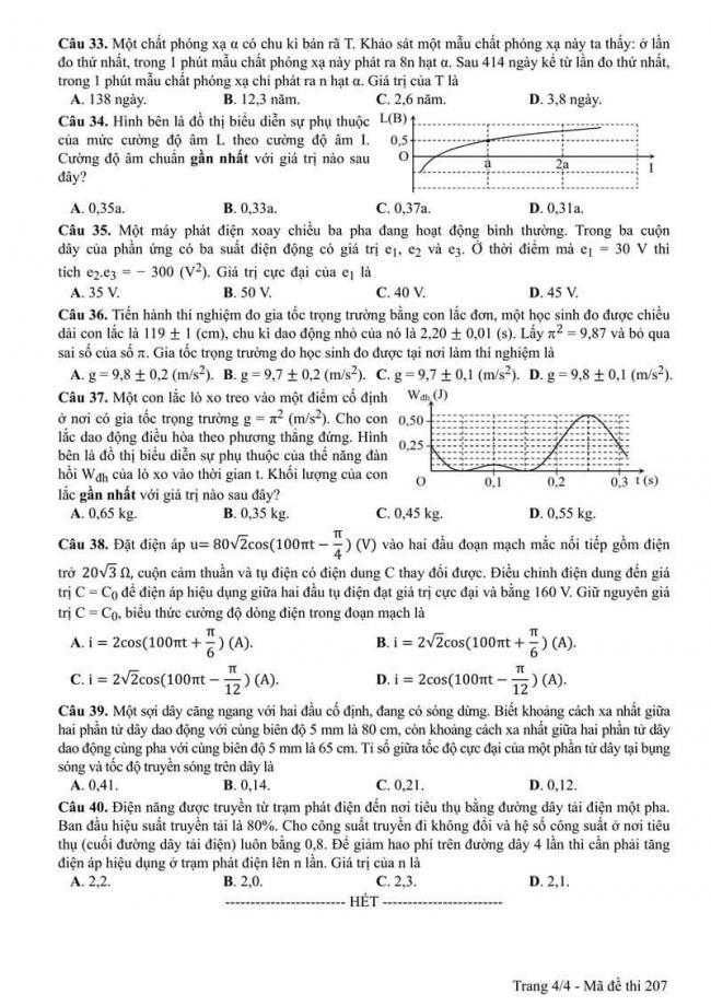 Đáp án đề thi môn Vật lí 207 THPT Quốc Gia năm 2017 trang 4