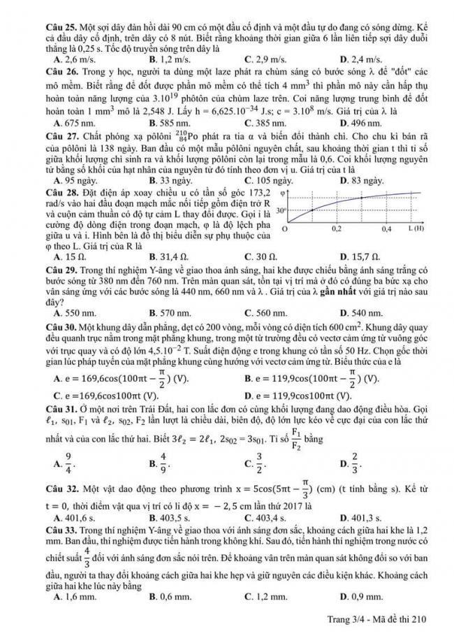 Đáp án đề thi môn Vật lí 210 THPT Quốc Gia năm 2017 trang 3