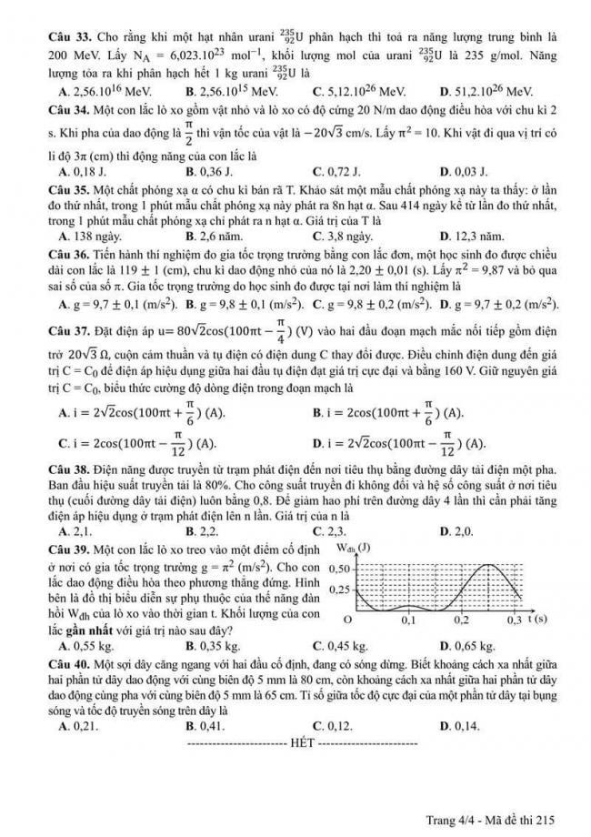 Đáp án đề thi môn Vật lí 215 THPT Quốc Gia năm 2017 trang 4
