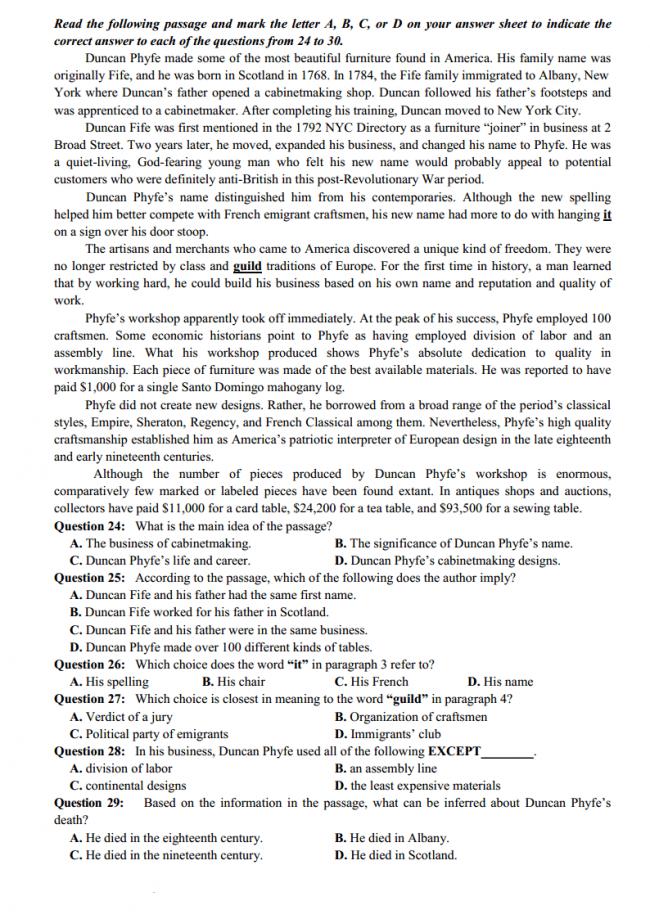 trang 3 câu 24-29 đề thi thử anh THPT quốc gia 2018 ĐH Vinh