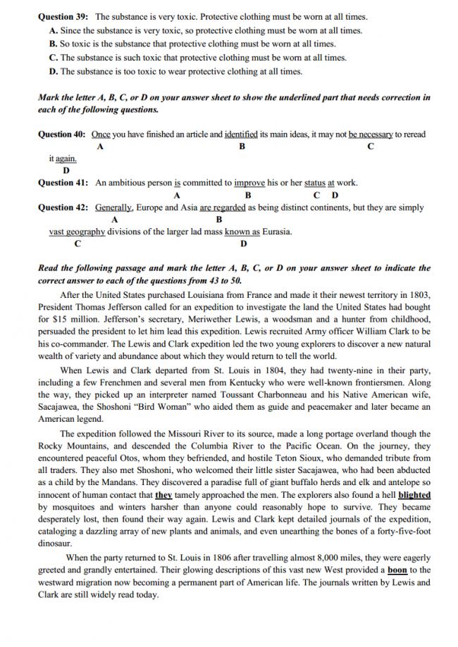 trang 5 câu 39 - 42 đề thi thử anh THPT quốc gia 2018 ĐH Vinh