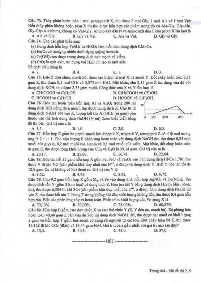 Đáp án đề thi môn Hóa 215 THPT Quốc Gia năm 2017 trang 4