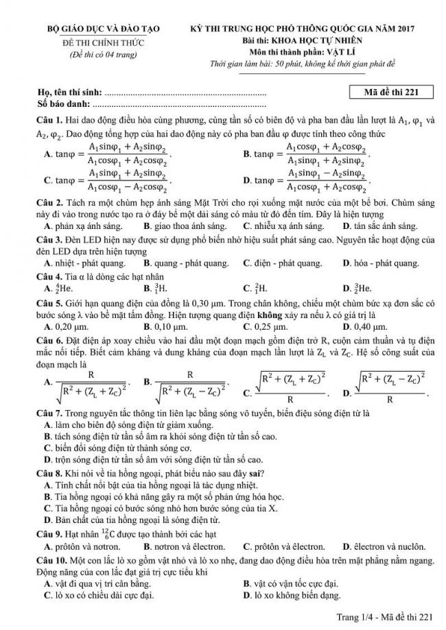 Đáp án kỳ thi THPT quốc gia 2017 môn Lí mã đề 221 trang 1