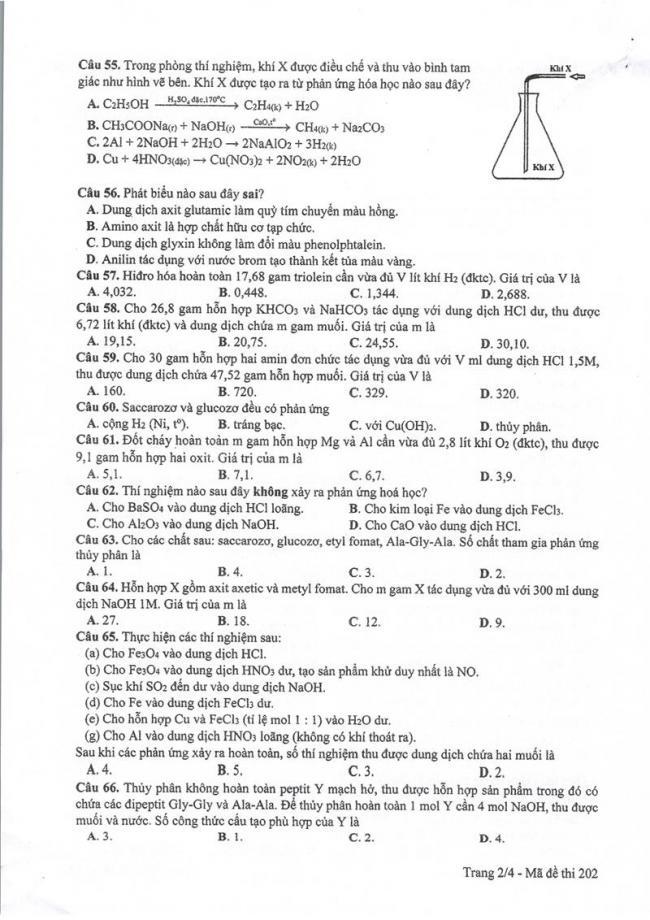 Đáp án đề thi môn Hoá 202 THPT Quốc Gia năm 2017 trang 2