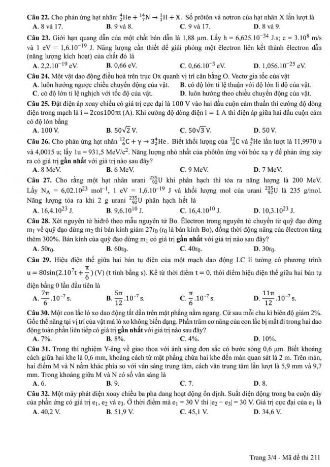 Đáp án mã đề 211 môn Vật Lí kỳ thi THPT quốc gia 2017 trang 3