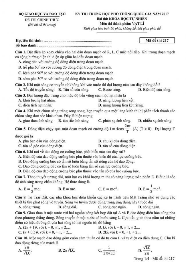 Đáp án kỳ thi THPT quốc gia 2017 môn Vật Lí mã đề 217 trang 1