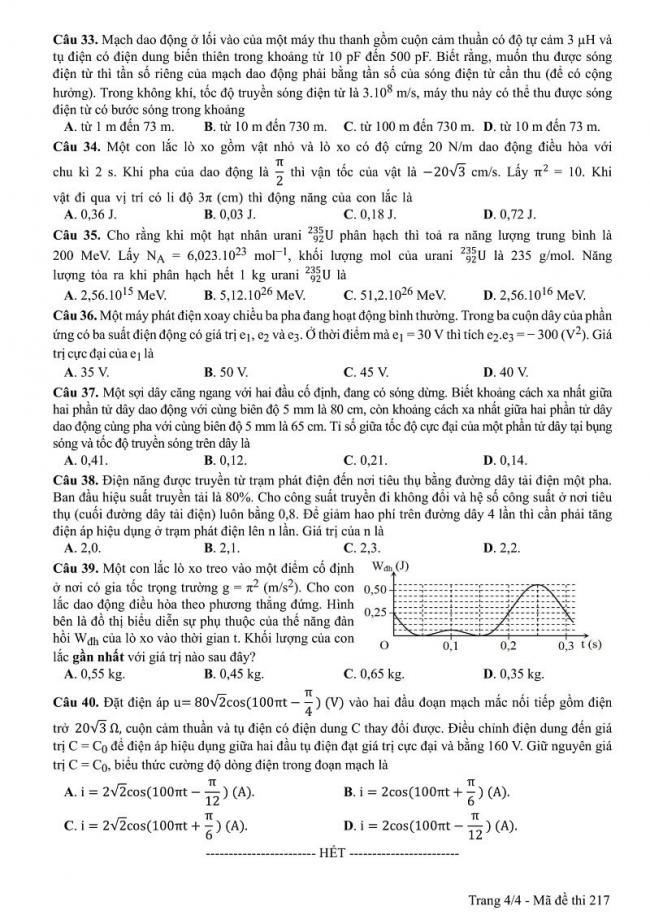 Đáp án kỳ thi THPT quốc gia 2017 môn Vật Lí mã đề 217 trang 4