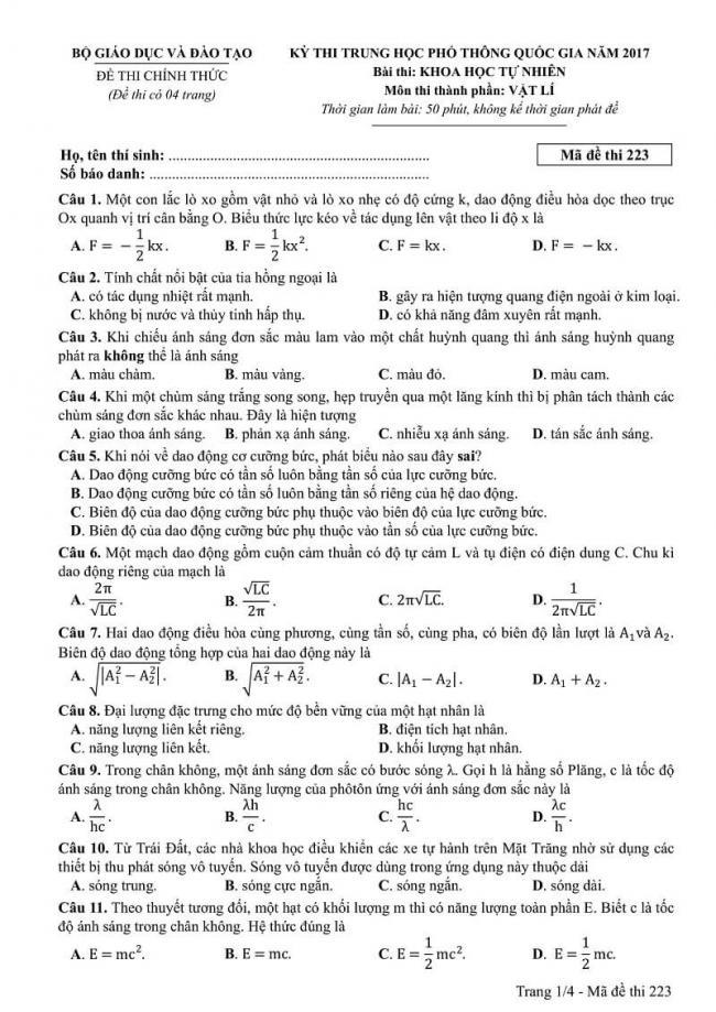Đáp án mã đề 223 môn Vật Lí kỳ thi THPT quốc gia 2017 trang 1