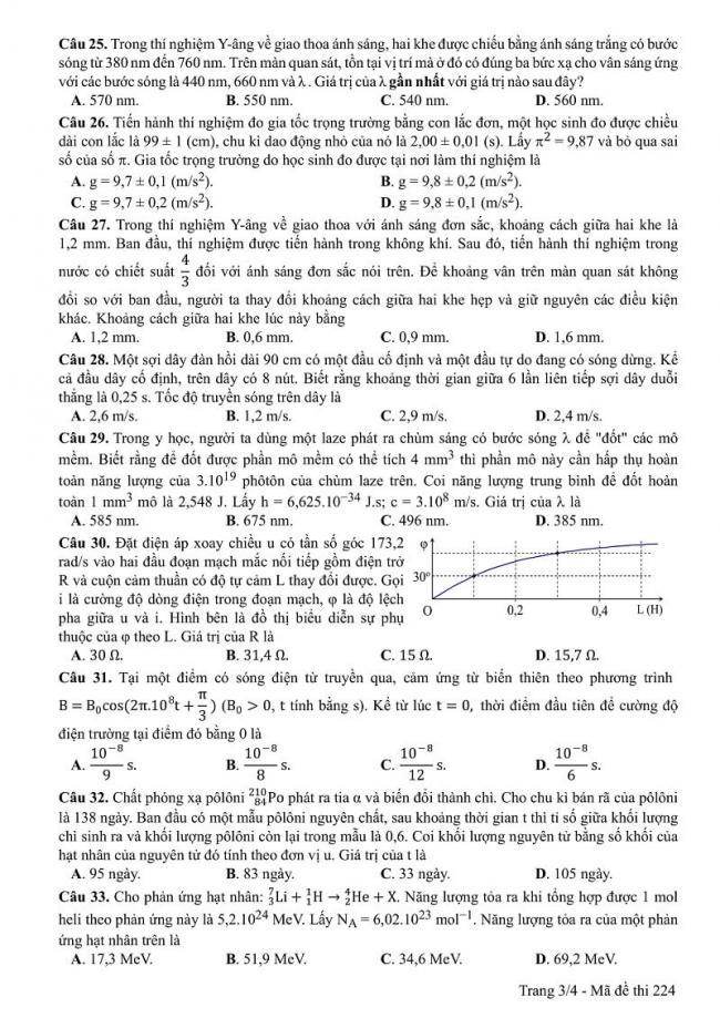 Đáp án mã đề 224 môn Vật Lí THPT Quốc Gia năm 2017 trang 3