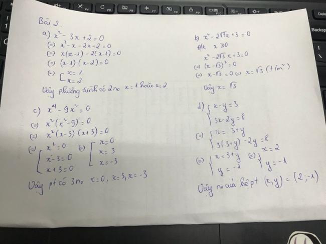 đáp án bài 2 đề thi toán chung Vĩnh long vào lớp 10 năm 2018