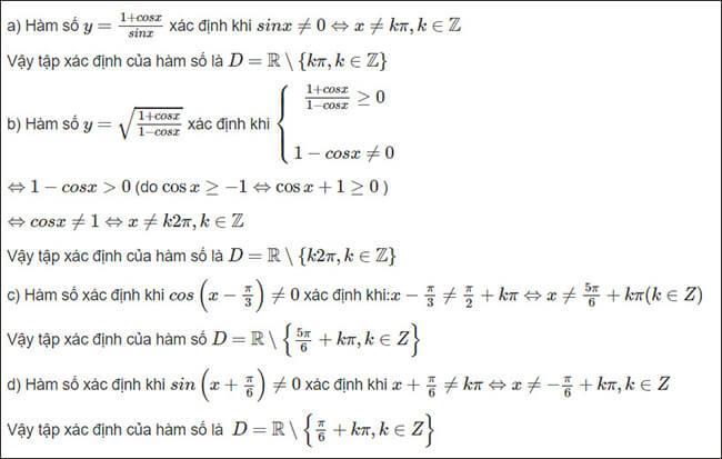 Đáp án bài 2 trang 17 SGK Đại số và Giải Tích lớp 11