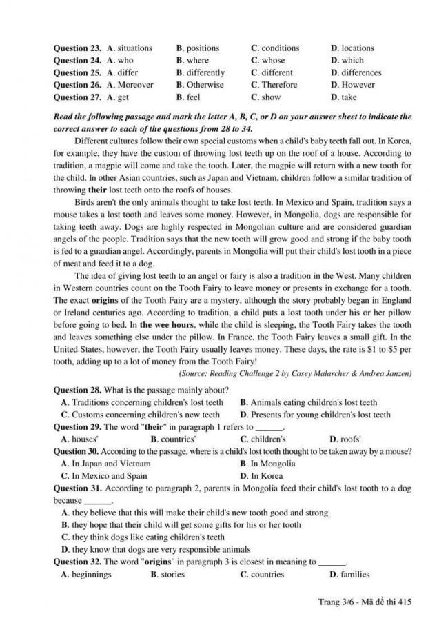 Đáp án đề thi môn Anh 415 THPT Quốc Gia năm 2017 trang 3