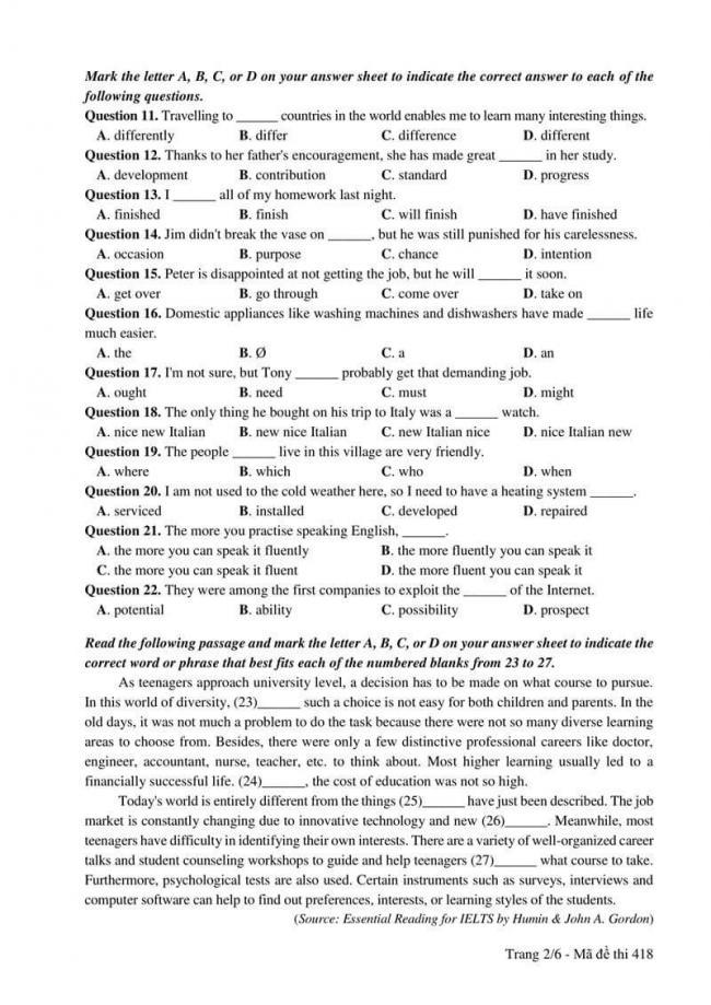 Đáp án đề thi môn Anh 418 THPT Quốc Gia năm 2017 trang 2