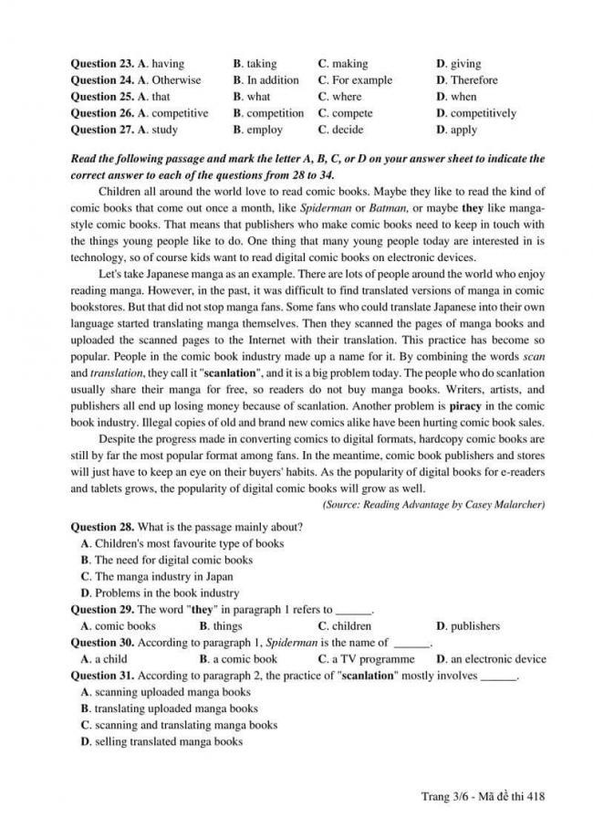 Đáp án đề thi môn Anh 418 THPT Quốc Gia năm 2017 trang 3