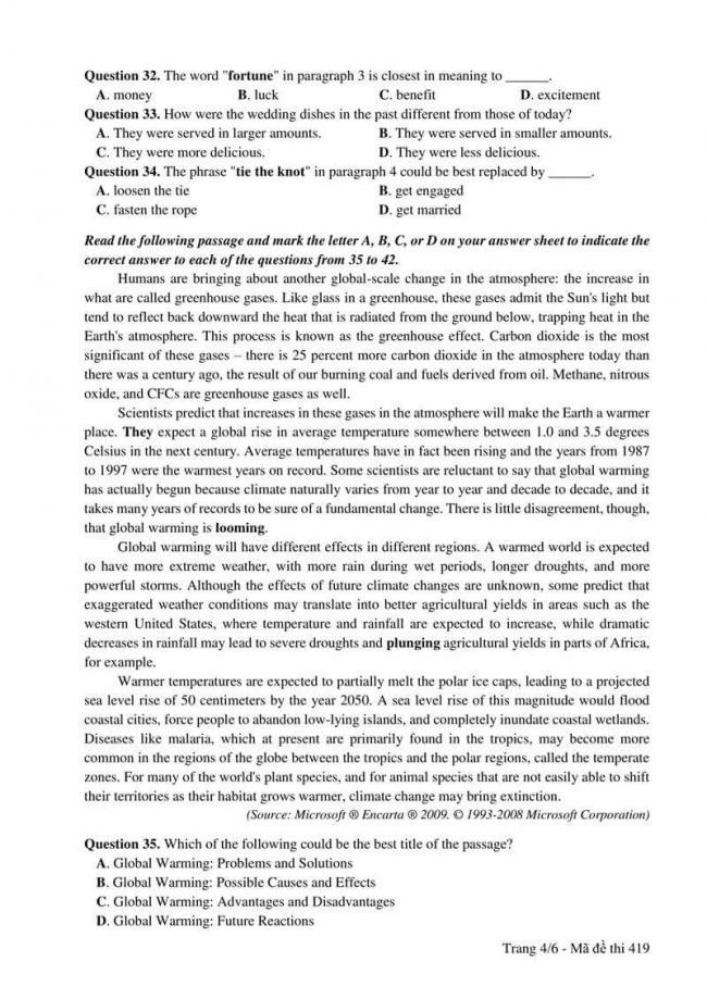 Đáp án đề thi môn Anh 419 THPT Quốc Gia năm 2017 trang 4
