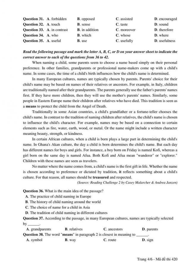 Đáp án đề thi môn Anh 420 THPT Quốc Gia năm 2017 trang 4