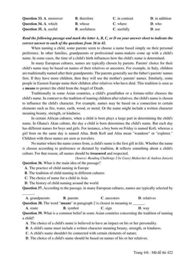 Đáp án đề thi môn Anh 422 THPT Quốc Gia năm 2017 trang 4