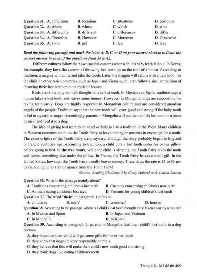 Đáp án đề thi môn Anh THPT Quốc gia năm 2017 mã đề 409 trang 4