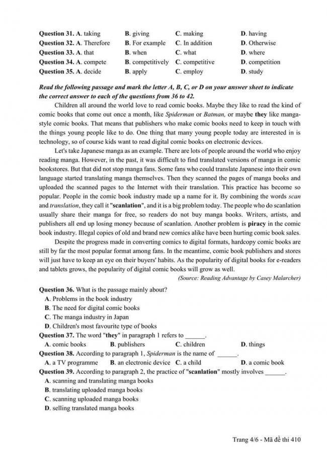 Đáp án đề thi môn Anh 410 THPT Quốc Gia năm 2017 trang 4