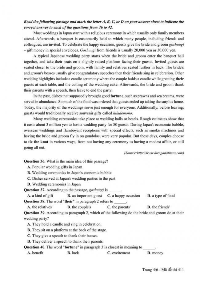 Đáp án đề thi môn Anh THPT Quốc gia năm 2017 mã đề 411 trang 4
