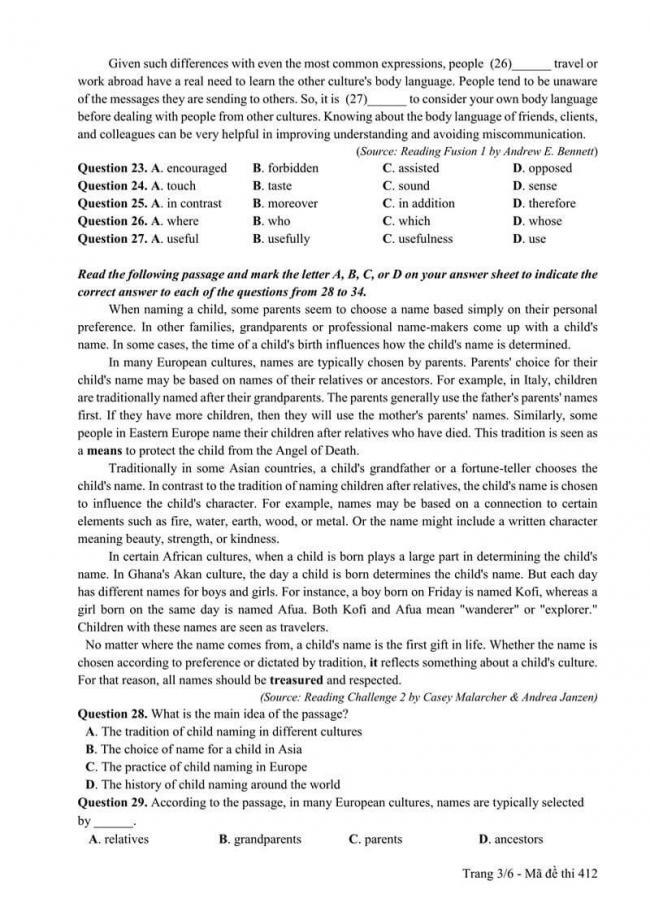 Đáp án đề thi môn Anh 412 THPT Quốc Gia năm 2017 trang 3