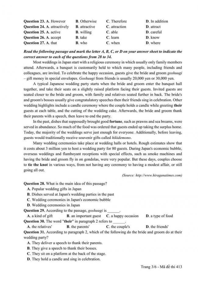 Đáp án đề thi môn Anh THPT Quốc gia năm 2017 mã đề 413 trang 3