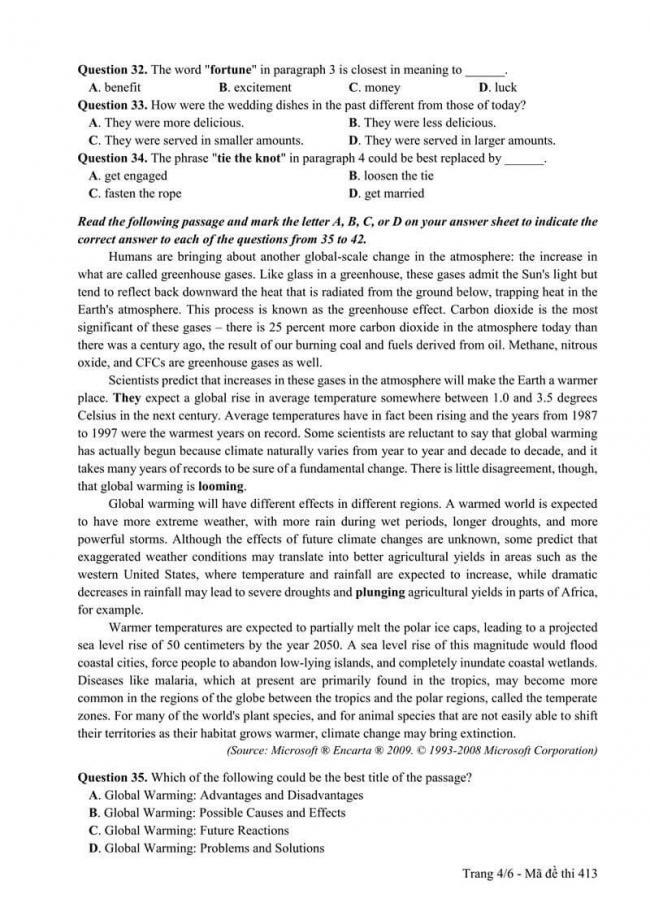 Đáp án đề thi môn Anh THPT Quốc gia năm 2017 mã đề 413 trang 4