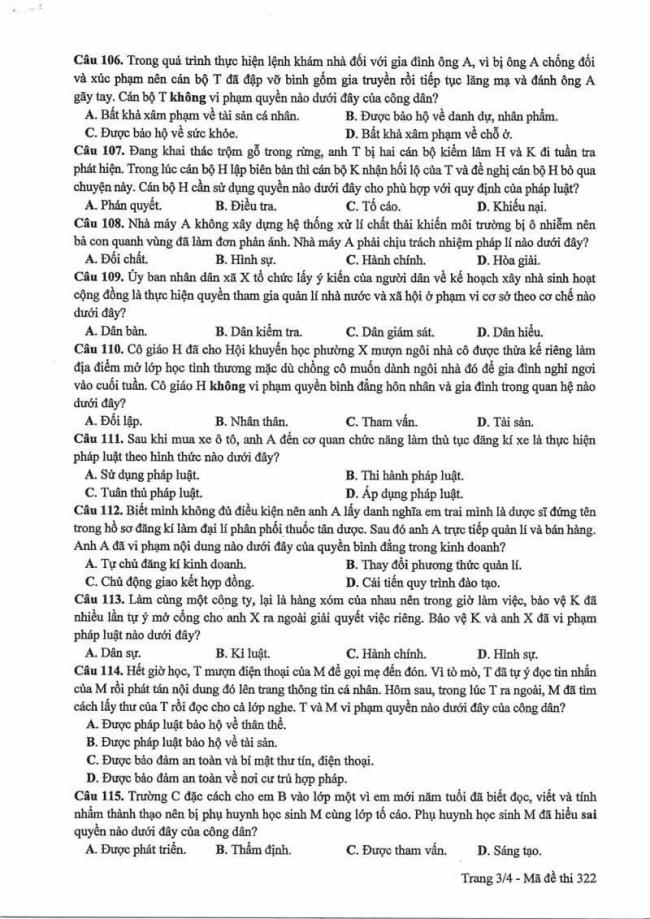 Đáp án đề thi môn GDCD THPT Quốc gia năm 2017 mã đề 322 trang 3