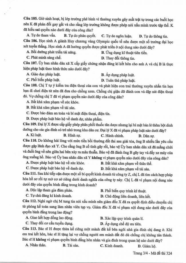 Đáp án đề thi mã 324 môn GDCD kì thi THPT Quốc gia năm 2017 trang 3