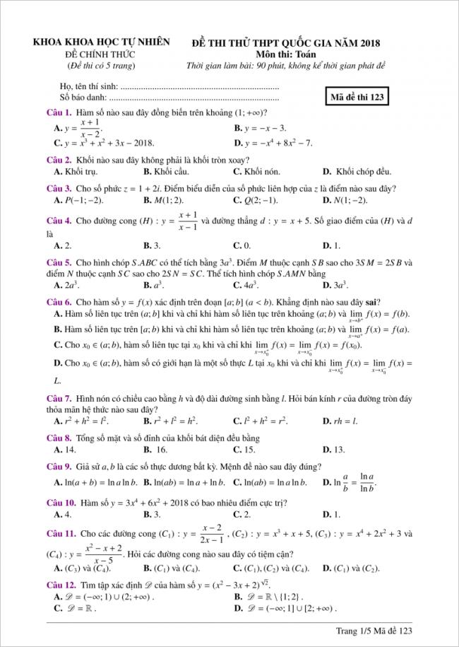câu 1 đến 12 đề toán thi thử thpt 2018 đh hồng đức