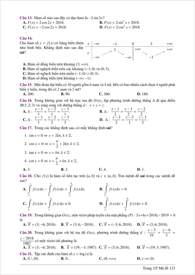câu 13 đến 21 đề toán thi thử thpt 2018 đh hồng đức