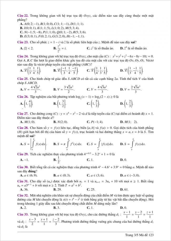 câu 22 đến 33 đề toán thi thử thpt 2018 đh hồng đức