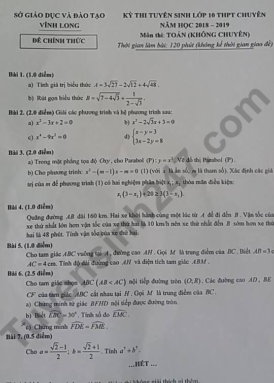 đề thi toán chung vào chuyên vĩnh long