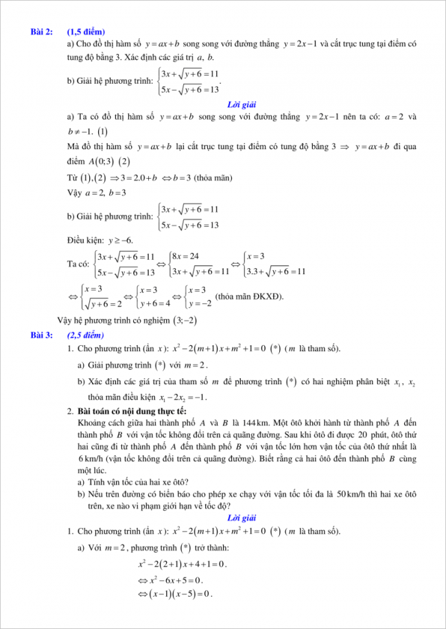đáp án bài 2, 3 đề toán vào lớp 10 tỉnh Hải Phòng 2018