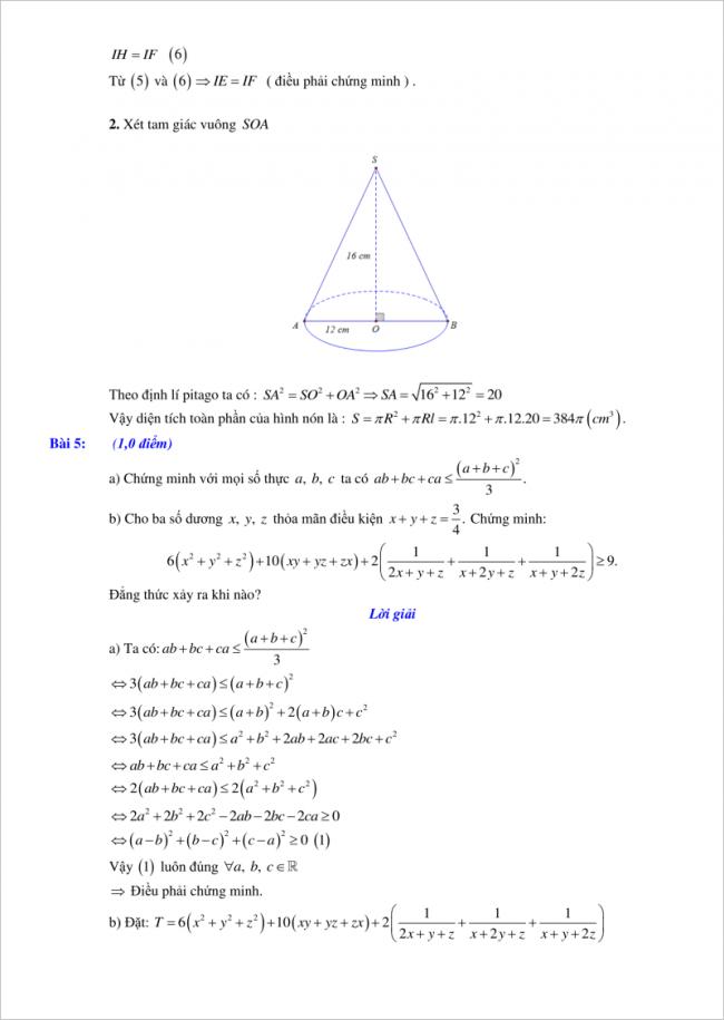 đáp án bài 5 đề toán vào lớp 10 tỉnh Hải Phòng 2018