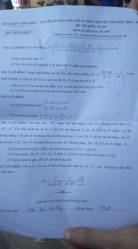 đề toán chuyên thi vào lớp 10 tỉnh vĩnh phúc năm 2018