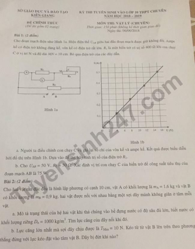 Đề thi tuyển sinh vào lớp 10 chuyên Lý tỉnh Kiên Giang 2018 trang 1