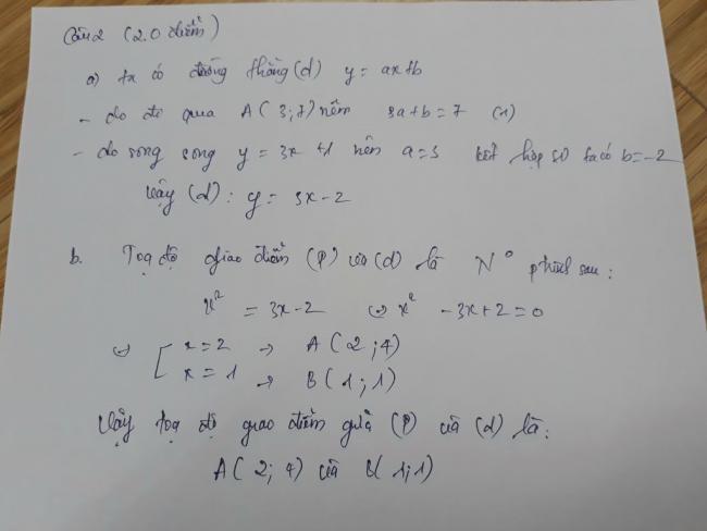 đáp án câu 2 tự luận đề toán phú thọ 2018