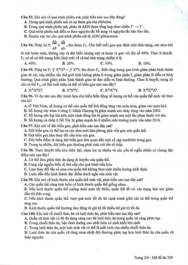 Đáp án đề thi môn Sinh 209 THPT Quốc Gia năm 2017 trang 2