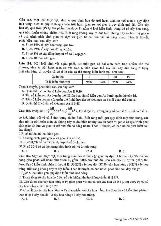 Đáp án đề thi môn Sinh 212 THPT Quốc Gia năm 2017 trang 5